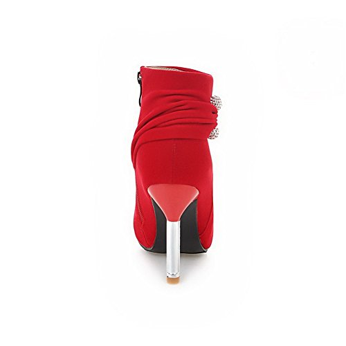 AgooLar Damen Niedrig-Spitze Rein Reißverschluss Spitz Zehe Stiletto Stiefel Rot