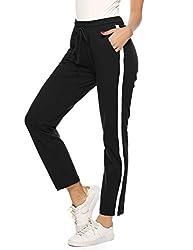 Aibrou Damen Jogginghose Sporthose Freizeit Hose Baumwolle Lang für Jogging Laufen Fitness Traininghose mit Streifen Schwarz XL