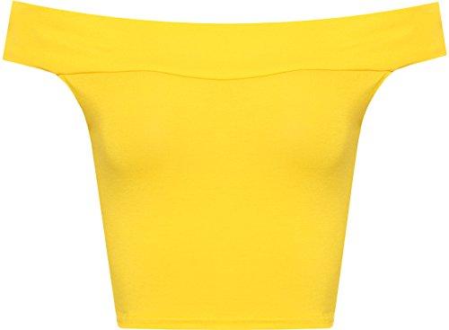 womens-off-shoulder-plain-short-crop-bandeau-ladies-open-cowl-neck-top-yellow-12-14