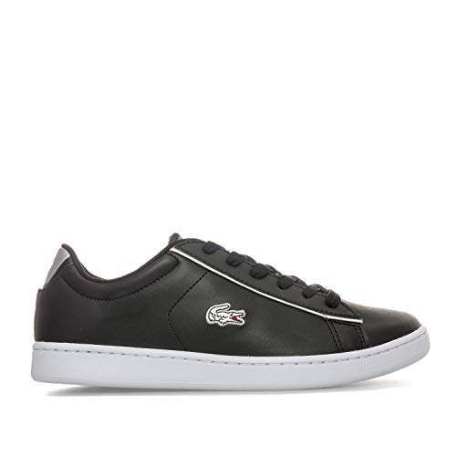 Lacoste Junior Carnaby Evo Trainers in Black Silver- Lace Fastening- Padded
