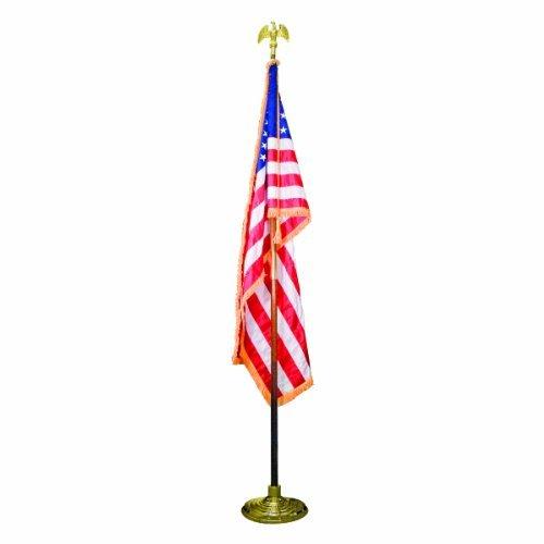 Advantus MBE031400 Indoor 3' x 5' United States Flag, 8-foot Oak Staff, 2-Inch Gold Fringe, 5-Inch Goldtone Eagle Top by Advantus -