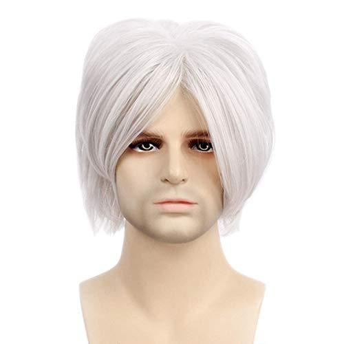 Xthy parrucca da uomo capelli corti scompigliati e arruffati, giovanile, alla moda parrucca maschio festa cosplay di gintama halloween a pelo corto