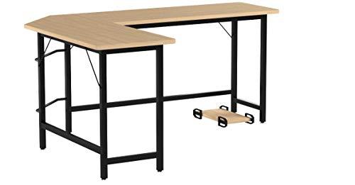 COSTWAY Computertisch L-Form, Eckschreibtisch, Schreibtisch PC-Tisch Computerschreibtisch Bürotisch Ecktisch Winkelschreibtisch, Farbwahl (Natur)