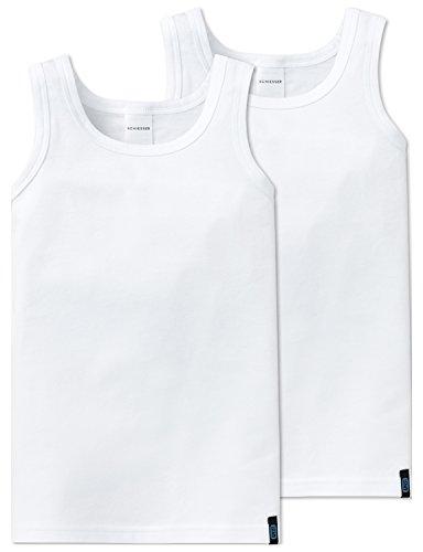 Schiesser Jungen Unterhemd 95/5 2pack Hemd 0/0, 2er Pack, Weiß (Weiss 100), 116