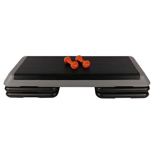 MSPORTS Aerobic Set mit Stepper 110 x 42 cm + 1 Paar 1 kg Neoprenhanteln Fitness Set