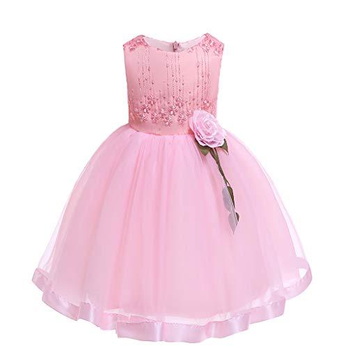 VJGOAL Mädchen Kleider, Kind Baby Süß Ärmellos Prinzessin Tutu Stickerei Blume Mesh Kleiden Dresses for Girl ()