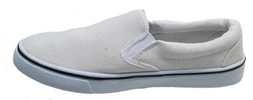 Uomo con Lacci Slip On Pompe scarpe sneaker Espadrilles Scarpe Tela Bambino, taglia adulto UK 7-12, (Slip On - White), 47