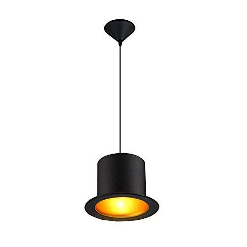 Hüte Top (KLSD Top Hut Anhänger, 1 Licht, Modern Retro Style Matt Schwarz Metall Hut Decke Pendelleuchte Schatten für Küche, Esszimmer, Insel, Bar, Schlafzimmer,)