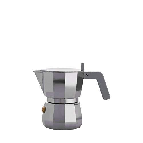 Alessi - Cafetera Espresso (Aluminio Fundido) Manija y pomo en PA, Color Gris. 1 Taza