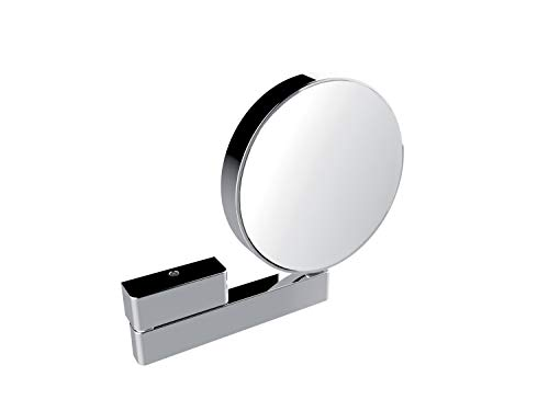 Emco Kosmetikspiegel rund, Badspiegel, mit Gelenkarm, 3-Fach und 7-Fach vergrößert, Spiegel beidseitig - 109500117, Chrom