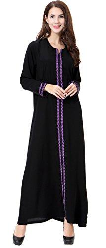 Auspicious beginning Moslemischer Kaftan Dubai Langarm-elegantes Kleid mit Stickerei für Frauen islamische Kleidung Kleid Abaya für (Saudi Frauen Kostüme Arabische Für)