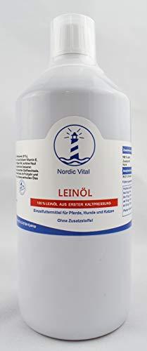NordicVital Leinöl 100{1edd41af86e81167603b48e49860c944d3971732e062fbd229e020a9f464f5a1}, frisch, Premiumqualität, 1 Liter für Pferde, Hunde, Katzen, Heimtiere Barfen, Plus Dosierkappe, Omega-3 und-6 Fettsäuren