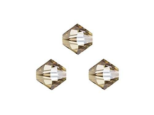 Creative-Beads Swarovski Perlen, Doppelkegel, konisch, bicone, 5328, 4mm, 50 Stück, cr.golden shadow, zum selbermachen von Ketten, Armbänder und Ohrringe, aus mehr als 50 Farben auswählen