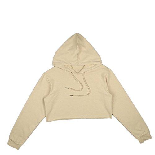 Rcool Damen Mode lose Polyester Kapuzenpullover Baumwoll Pulli mit Kapuze Sweatshirt Hoodie Workout bauchfreies Top (S, Khaki)