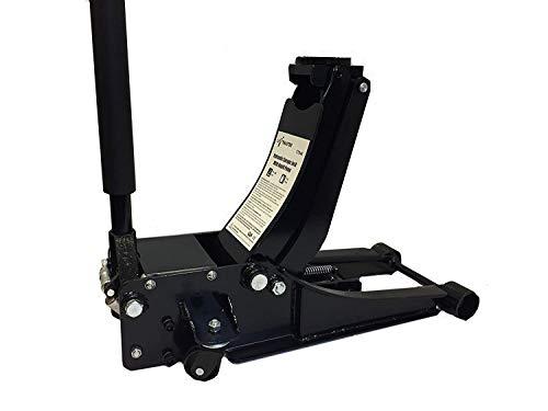 Rango de elevación = 70 a 508 mm. Capacidad 3 toneladas. Ruedas giratorias para fácil maniobrabilidad. Peso de 43 kg. Dimensiones 760 x 345 x 165 mm.