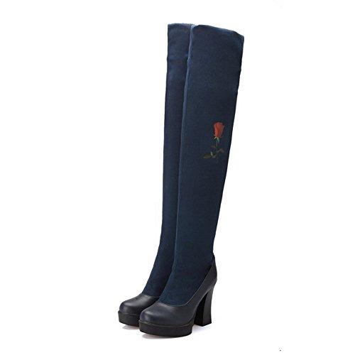 AgooLar Damen Hoher Absatz Hoch-Spitze Gemischte Farbe Ziehen Auf Stiefel Blau