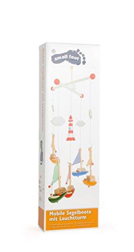 """Mobile """"Segelboote mit Leuchtturm"""" aus Holz und Stoff, Babyspielzeug bunt lackiert, von Geburt an geeignet - 2"""
