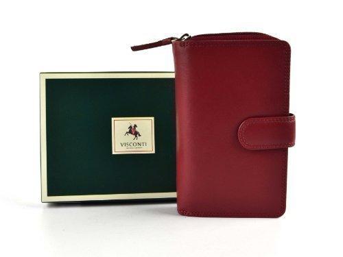 Ladies Medio Portafoglio in pelle/Portafoglio da Visconti COLLEZIONE HERITAGE Regalo In Scatola 4Colori Red