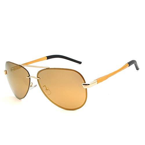 Herren Sonnenbrillen Metall Sonnenbrille Männer Brille Fahrer Fahren Spiegel Polarisator Mode Sonnenbrillen LTJHJD (Color : Tea, Size : Kostenlos)