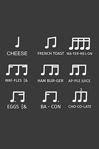 Cheese French Toast: Liniertes DinA 5 Notizbuch für Musikerinnen und Musiker Musik Notizheft