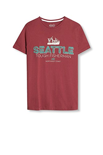 ESPRIT Herren T-Shirt 037ee2k030-Print Rot (Garnet Red 620)
