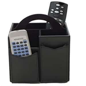 Lakeland Black Leather-Look Remote Control Tidy with Handle