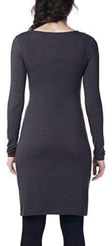Noppies Damen Umstandskleid Dress ls Ivory Grau (Dark Shadow C242)