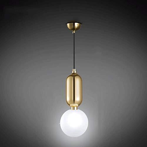 wykbm Einfache, Moderne Esszimmer Esszimmer Lampe Tabelle die Schlafzimmer Glasabdeckung Bed Single Head Kronleuchter 7-W-LED-Leuchtmittel G 9 Perlen (Farbe: Gold, Größe: Das weiße Licht) -
