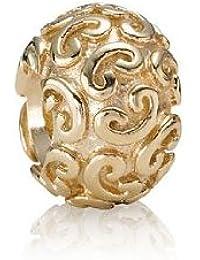 Pandora Damen-Bead  14 Karat (585) Gelbgold Kugel mit Herzornamenten KASI 75421