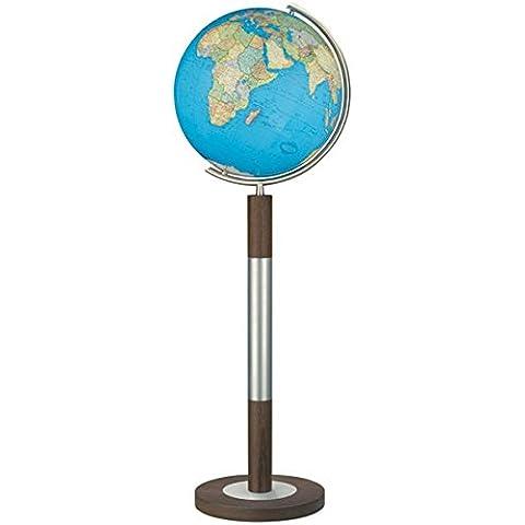 Columbus Duo mappamondo luminoso con base da pavimento, modello: 40cm di diametro, oid-Code, mundgeblasene sfera (Metallo Meridiana)