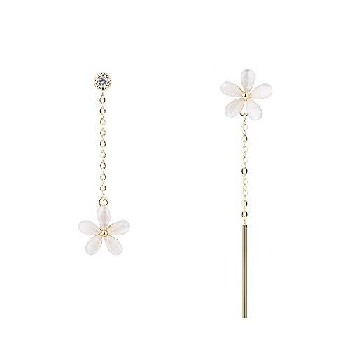 Fawhg 925 Silber Asymmetrische Blume Ohrringe Weibliches Temperament Lange Anhänger Ohrringe Persönlichkeit Mode Einfache Wilde Ohrringe Blütenblätter Ohrringe (Color : Gold) (Stecker Marienkäfer Kostüm)