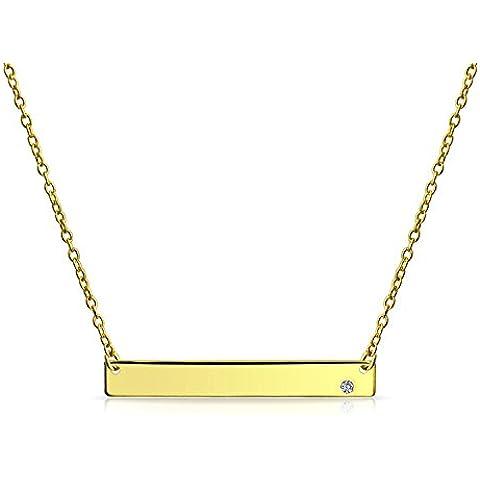 Bling Jewelry Argento Sterling placcato oro lucido Bar CZ stratificazione Collana 16a