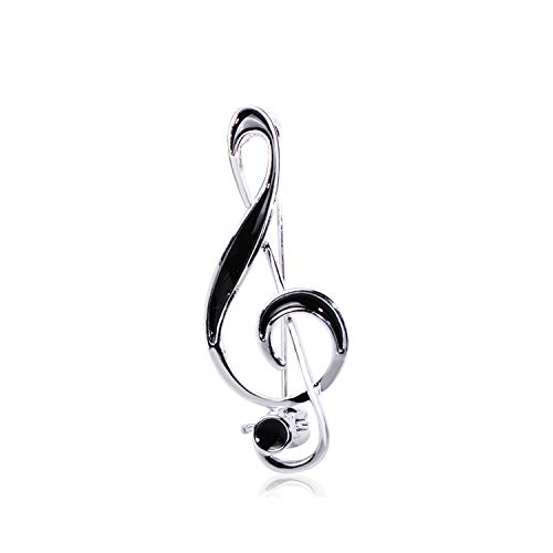 Styliee Brosche, Simple Musical Note Shape Brooch Gold Color Black Enamel Brooches for Women Men Concert Jewelry Musician Lapel Pins Gifts Silver Color
