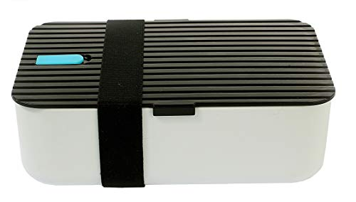 Lunch box scatola porta pranzo bento contenitore 1000ml bpa free dual scomparti coperchio nero con divisore lavabile in lavastoviglie
