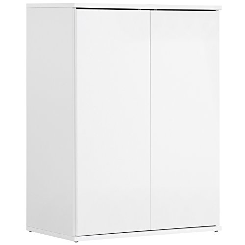 #mokebo® 'Der Kurze' Mehrzweckschrank, Aktenschrank, Schrank, Büroschrank, Universalschrank, Beistellschrank, in Weiß mit Push-to-Open Funktion, 60x81x34 cm (B/H/T), Made IN Germany!#