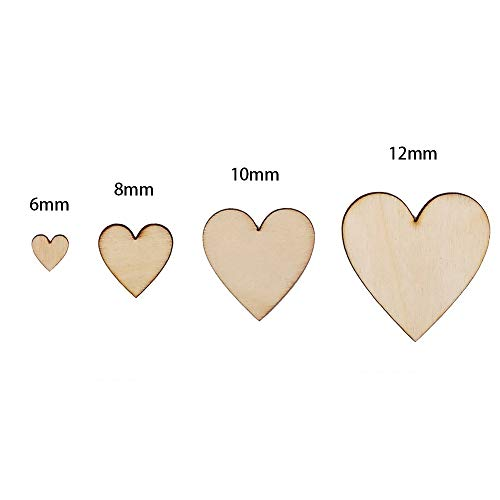 Wohlstand 300 Pieces Wooden Hearts,Mini Wooden Hearts Wooden Embellishments,Mixed Wooden Heart,Rustic Wooden, Wooden Crafts,Wedding,Table Decorations(6/8/10/12mm)