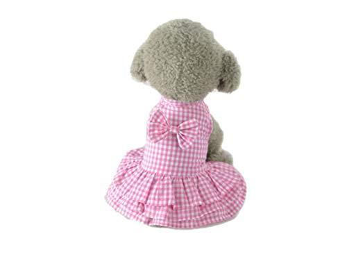 Wangshihao Haustierkleidung Rock Pink Plaid Kleid, XL