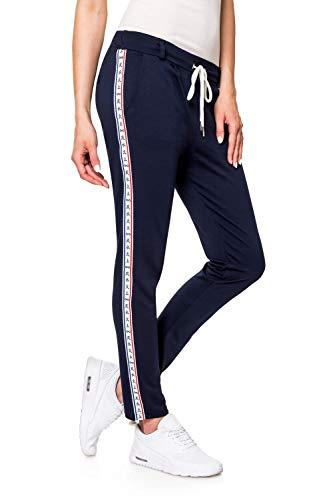 Hachiro Damen Freizeithose Jogginghose Sportswear Style (L, Navy/Elements)