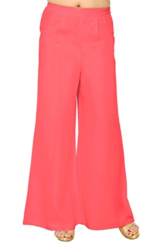 Elaine Women's Rayon Plazo (33010_Pink_Large)