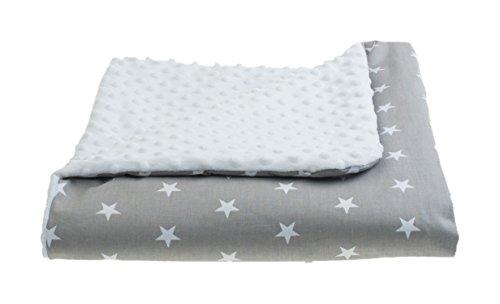 MoMika Nouvelle 2 faces Minky et couverture de bébé en coton | Play & Câlins Couverture | Girl & Boy Belle couverture Minky (80x80 cm) | Incroyablement doux et moelleux (White-Stars)