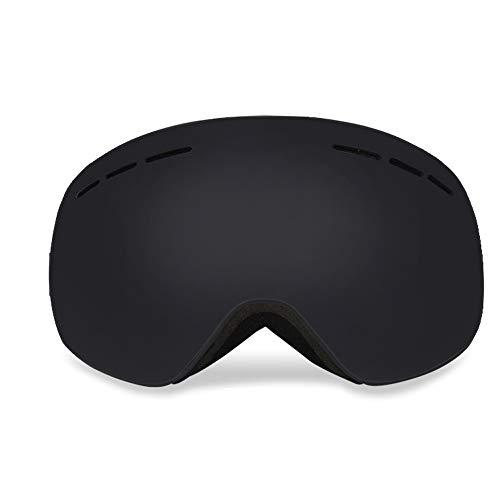 Skibrille Anti Fog Anti Uv Doppelschichten für Magnet Snow Goggles Über Brillenglas für Schneesport - Schwarz (Snocross-schutzbrillen, Klare Linse)