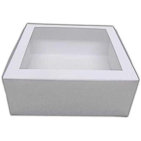 Cake Box, cartón, caja para tartas 25X 25X 10Cm, color blanco, enmarcado) con eckigem Ventana (1pieza)