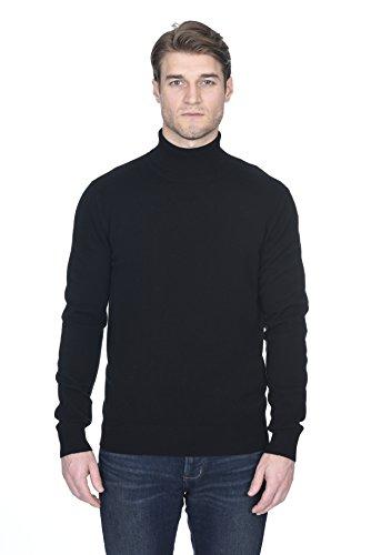 State Fusio langärmliger Pullover aus Kaschmirwolle mit Rollkragen für Herren, Premium-Qualität, Schwarz, S -