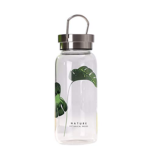 Sunkey Trinkflasche Glas 500ml / 750ml / 1l Wasserflasche mit Neopren-Hülle Tragbar Auslaufsicher Deckel Wide Mouth Bpa Frei (750ml)