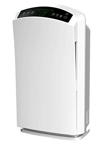 Baren B-H03 leiser HEPA Luftreiniger PM2.5 Feinstaubsensor Ionisator Aktivkohle Ozon UV-Licht für Allergiker Perlweiß -