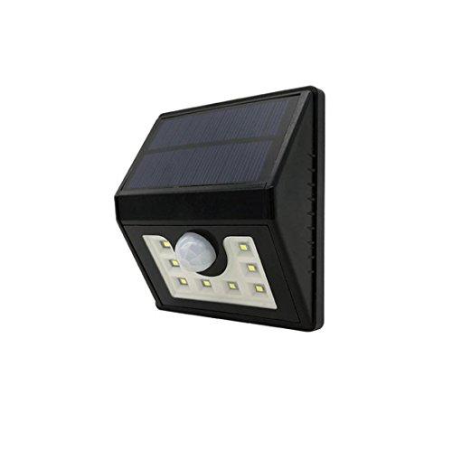 FNKDOR Solarleuchten 8 LED Wandleuchte Außen PIR (passiver Infrarotdetektor) Solar Betriebene Außenleuchte Energiesparende Wasserdichte (Ufo-capris)