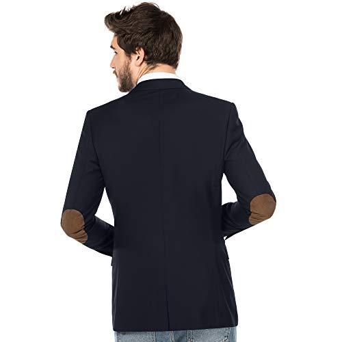 ALLBOW Blaues Sakko mit Ellenbogen-Patches, Herren Blazer, Business Casual Sport-Sakko (Patches Braun, XL - 56)
