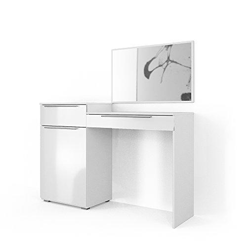 VICCO Frisiertisch Weiß Hochglanz - Schminktisch Kosmetik Set Design Kommode mit Spiegel (Klein)