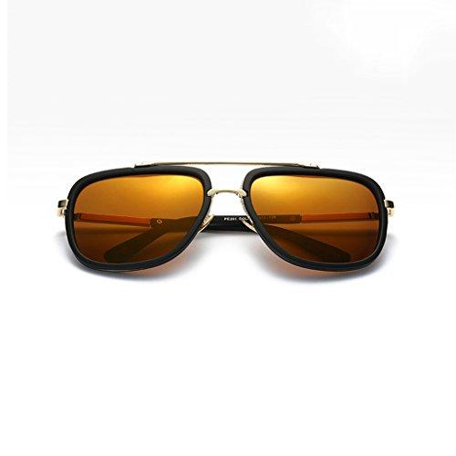 NUBAO Polarisierte Sonnenbrille Brille Sonnenbrille Männer UV-Schutz Metall Sonnenbrille Fahren Fahren Reise Strand Obligatorisch (Farbe : Gelb)