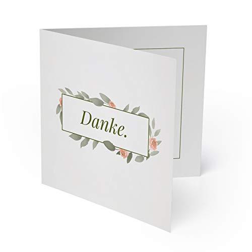(20 x) Hochzeit Dankeskarten Danksagungskarten Danke Dankeschön Karten - Blumen